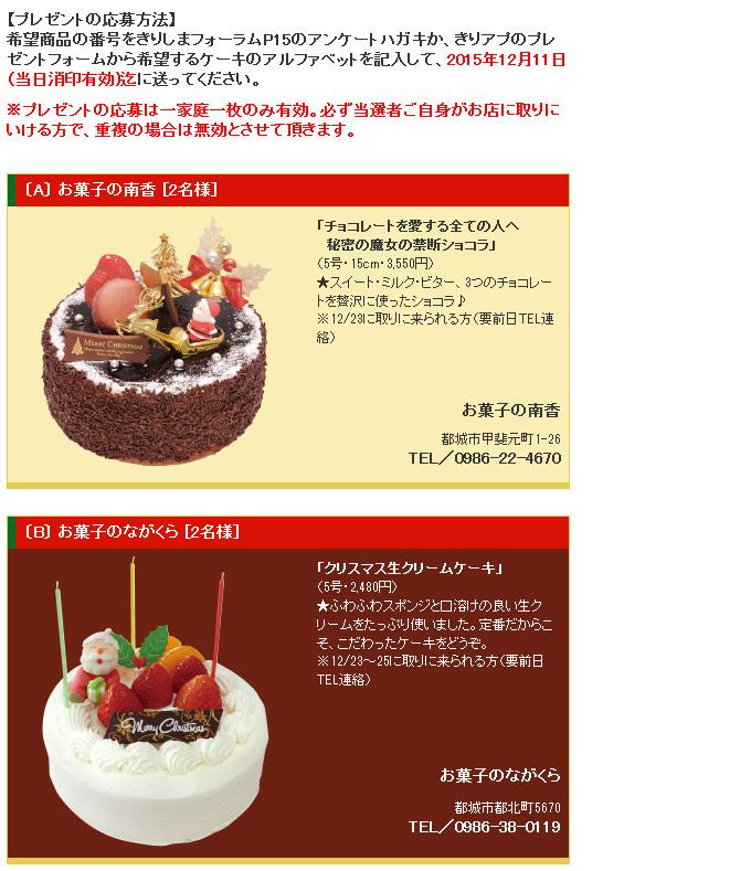 クリスマスケーキプレゼント2015
